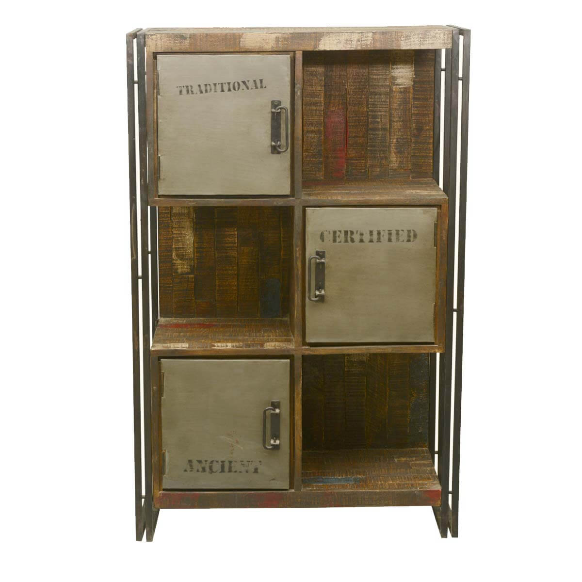 Wall Unit Wooden Industrial Reclaimed Wood And Iron 6 Cubical Storage Wall Unit
