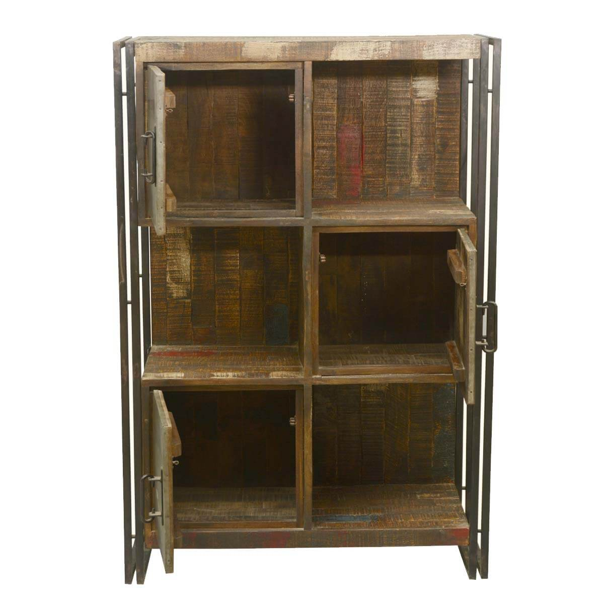 Industrial Wall Shelving Units Industrial Reclaimed Wood And Iron 6 Cubical Storage Wall Unit
