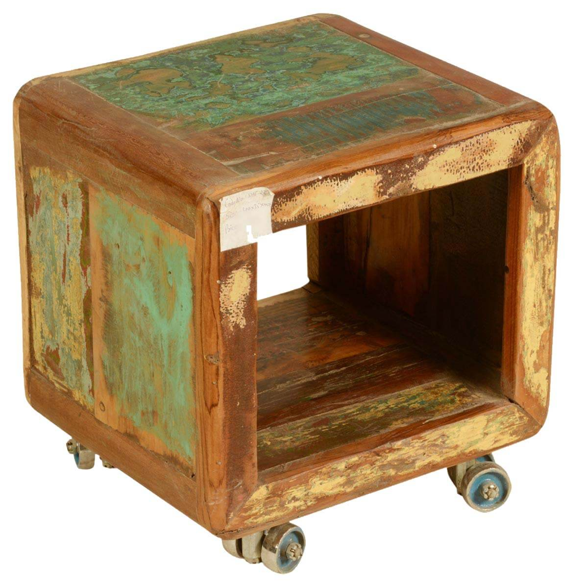 Wood Cube End Table Rolling Cube Reclaimed Wood Movable Storage Cubical End Table