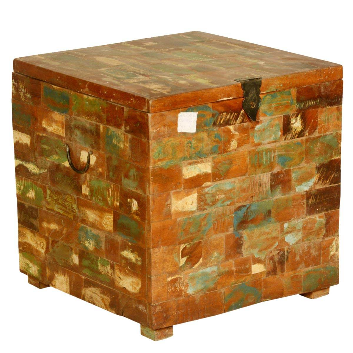 Box End Table Faux Brick Reclaimed Wood 19 5 Square Storage Box End Table