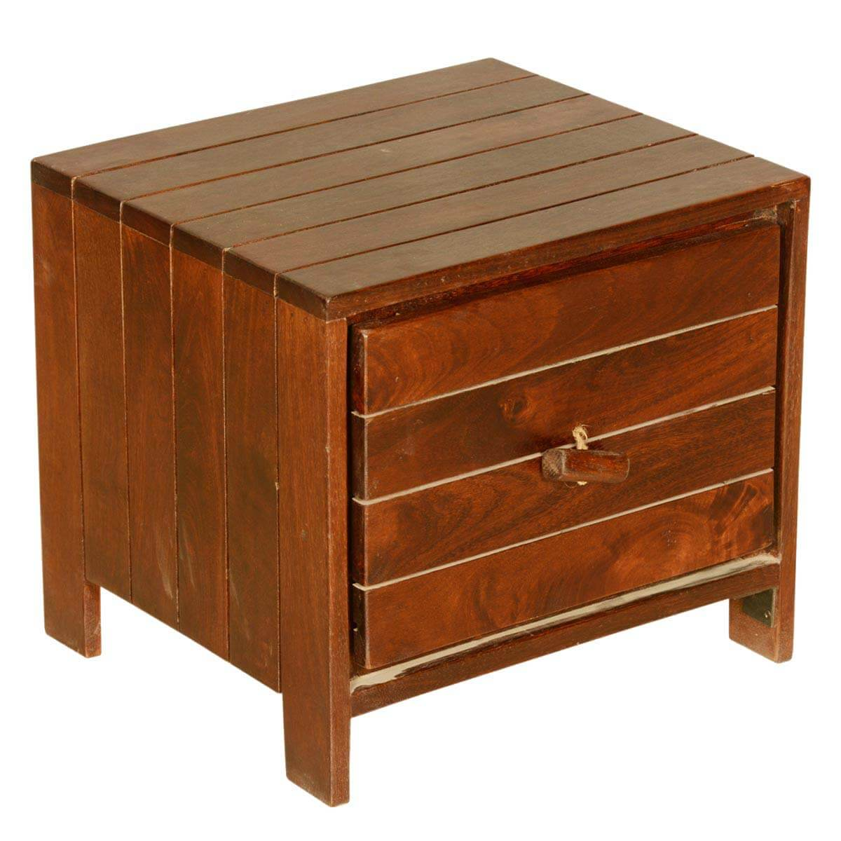 Wood Cube End Table Parallel Lines Teak Wood Standing Cube File Cabinet End Table