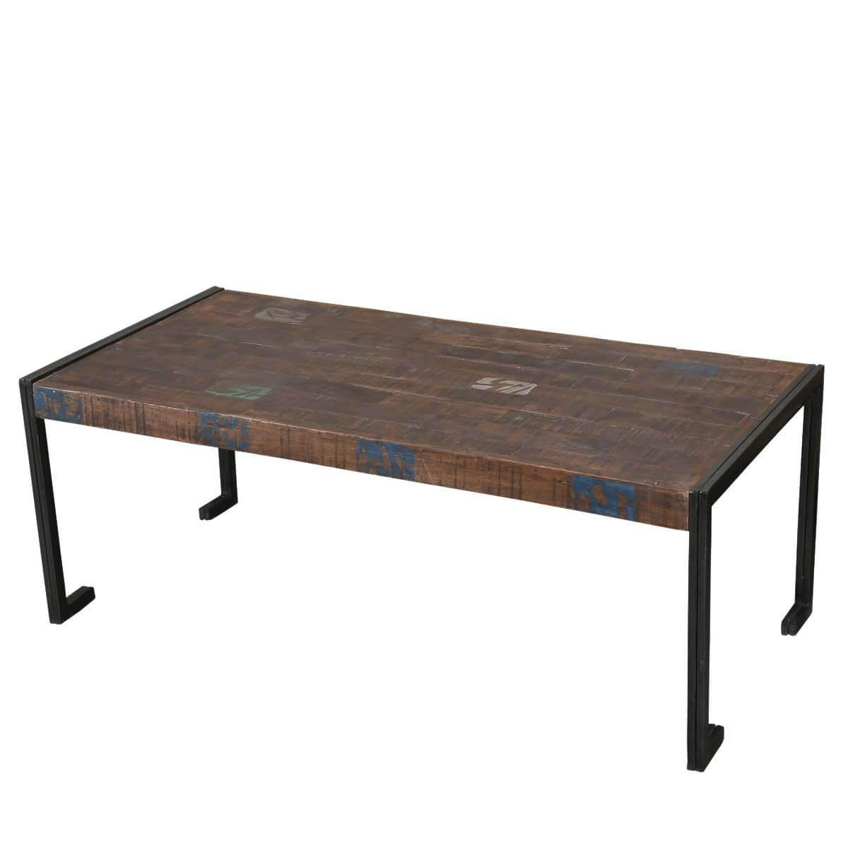 Industrial Coffee Table Philadelphia Reclaimed Wood Industrial Metal Frame Rustic