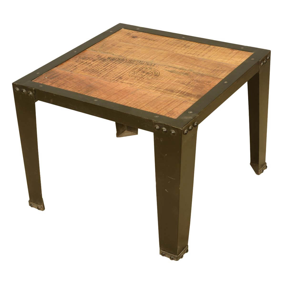 Industrial Look End Tables Rustic Industrial Style Acacia Wood And Iron Fusion End Table