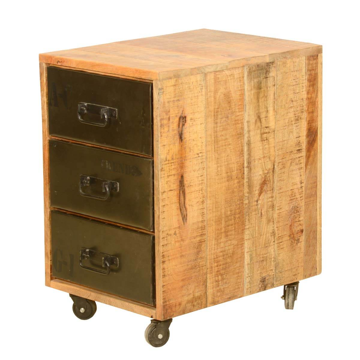 Industrial Look End Tables Rustic Industrial Style Solid Wood Trolley End Table With