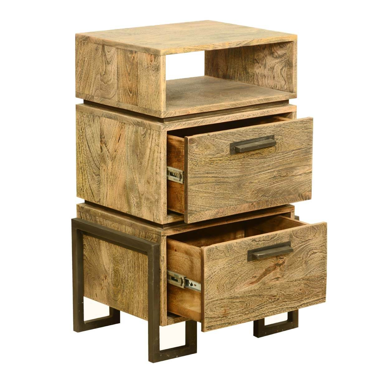Industrial Look End Tables Modern Rustic Industrial Style Solid Wood And Iron Bedside