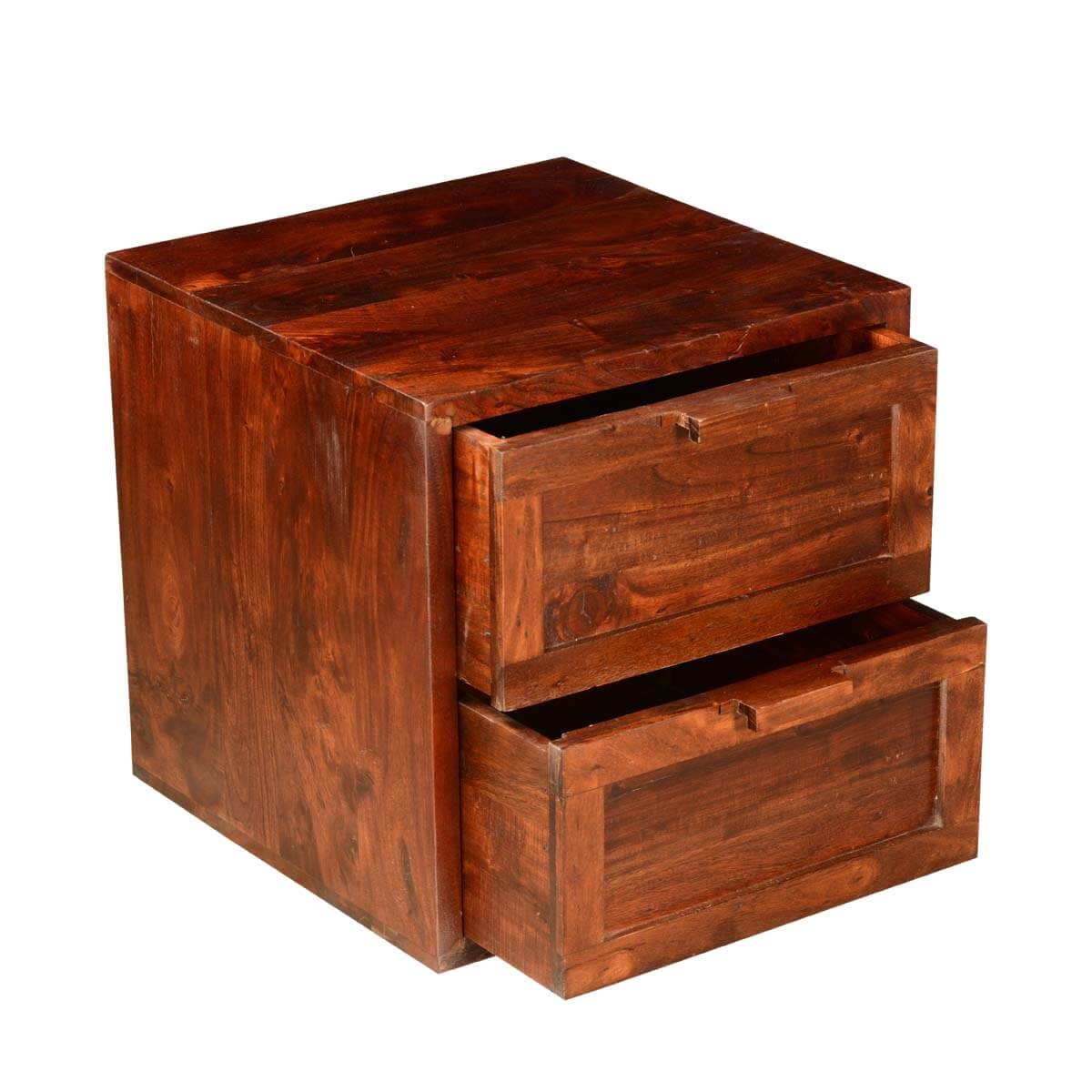 Wood Cube End Table Modern Rustic 20 Quot Cube Acacia Wood 2 Drawer Accent End Table