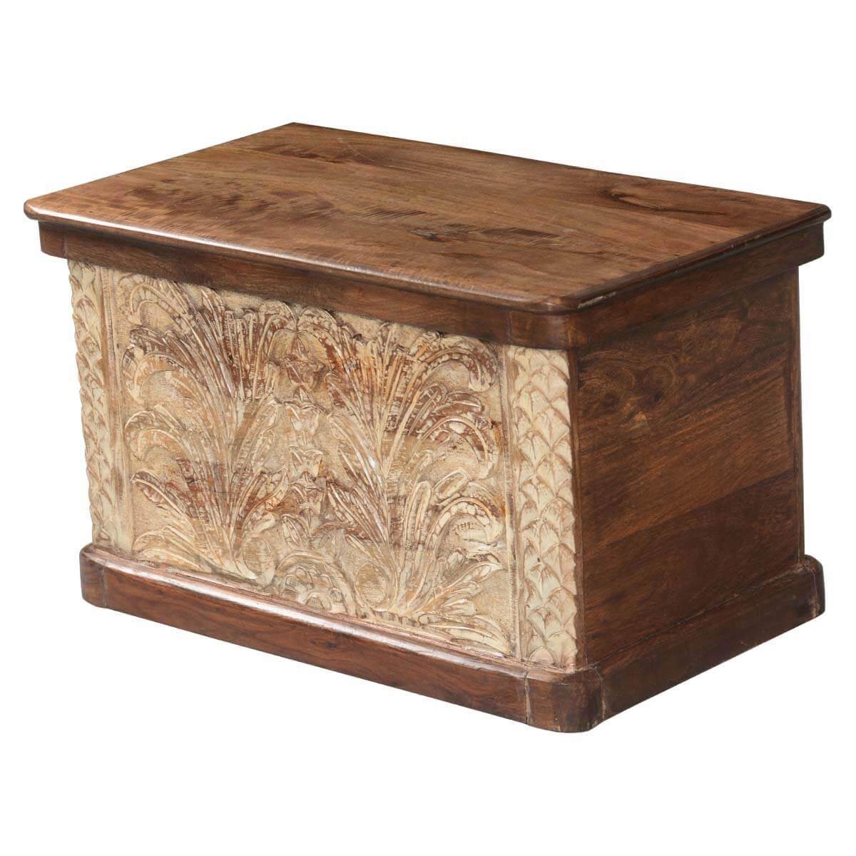 Wood Coffee Table With Storage Winter Ferns Solid Acacia Wood Coffee Table Storage Chest