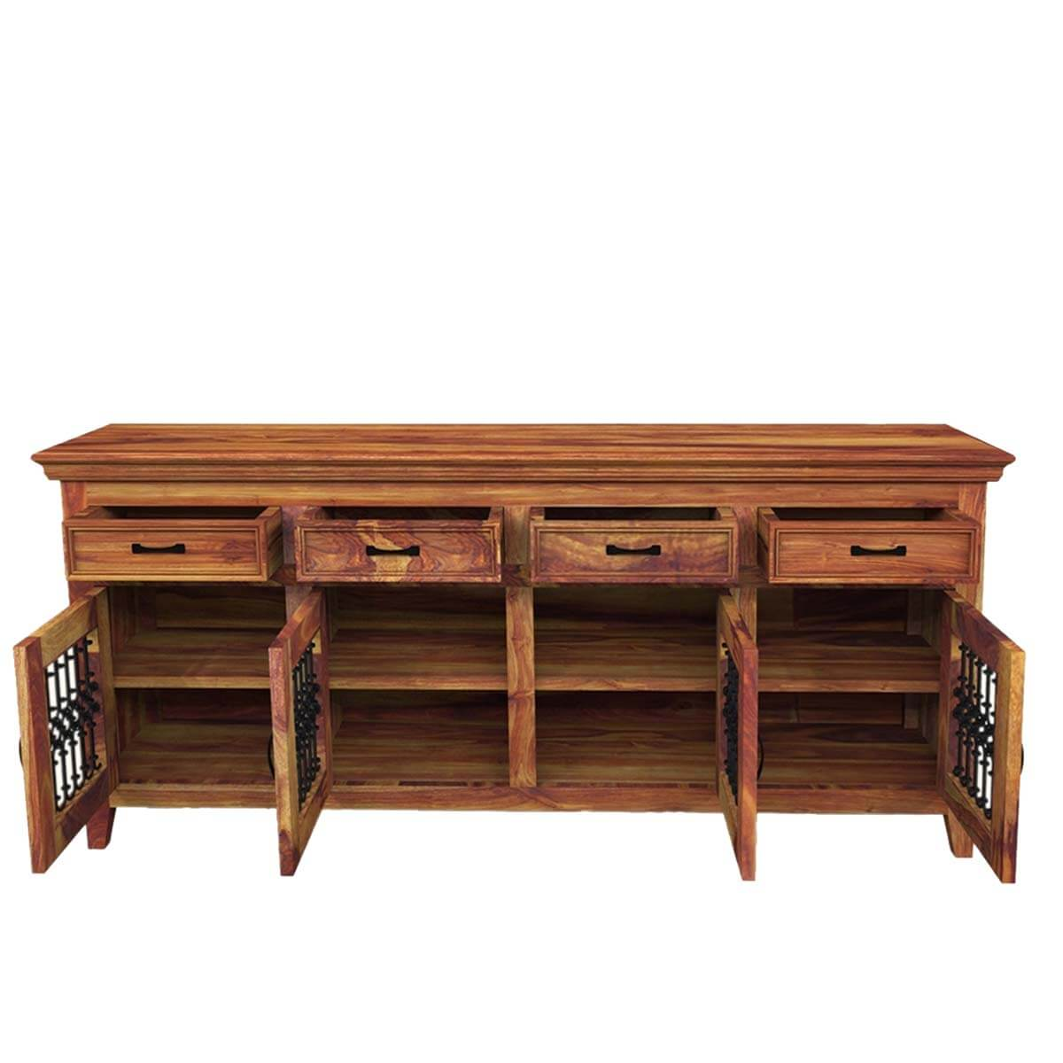 Rustic Buffet Table Setting Solid Wood Large Rustic Dining Room Table Chair Sideboard Set