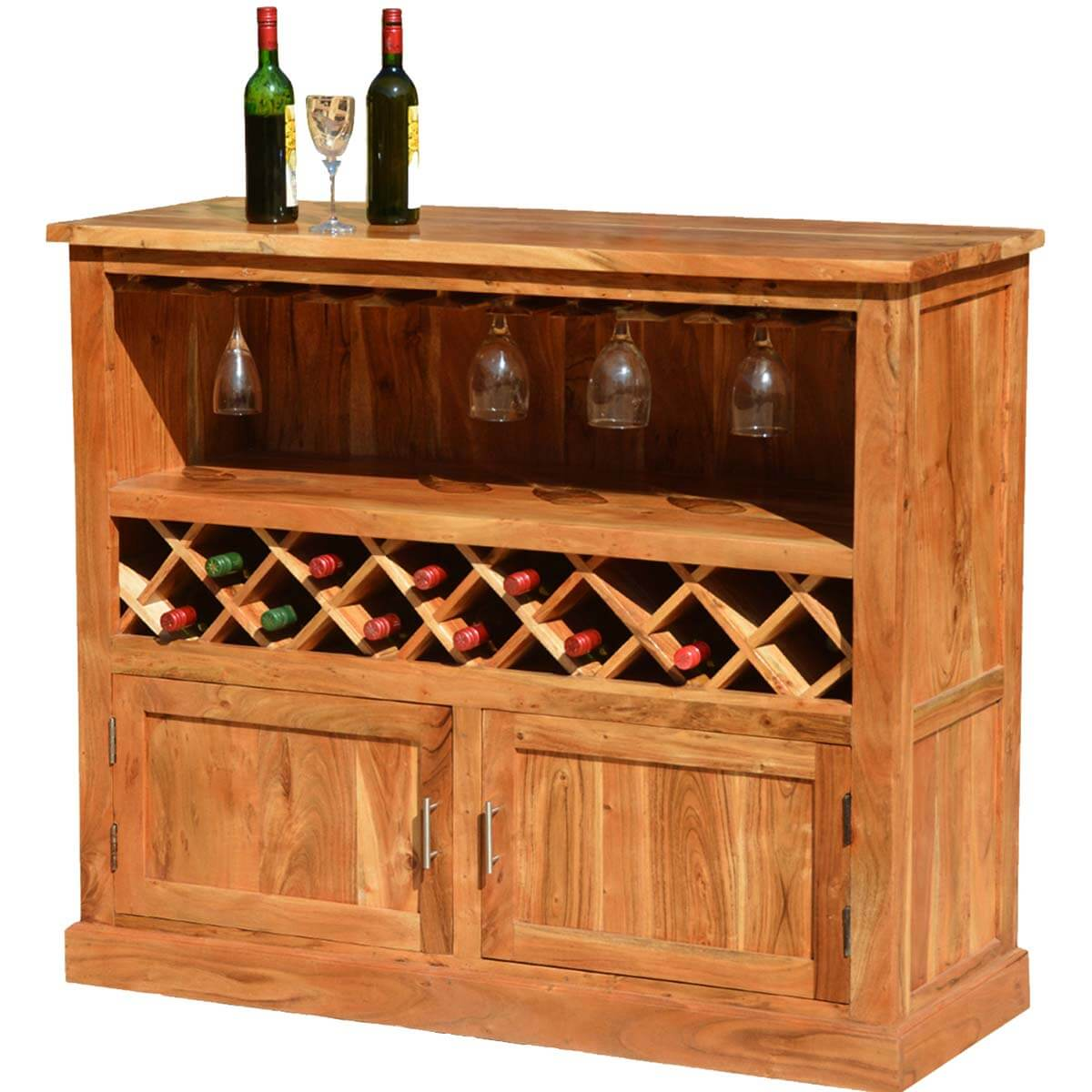 Modern Wine Rack Furniture Modern Rustic Acacia Wood 13 Bottle Wine Bar Cabinet W