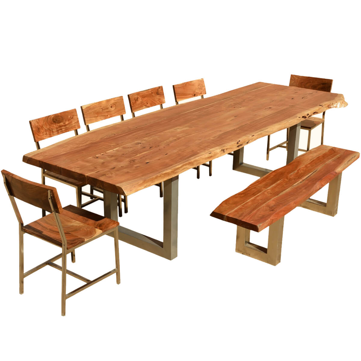 Acacia Dining Table 117 Quot Live Edge Dining Table W 6 Chairs And Bench Acacia