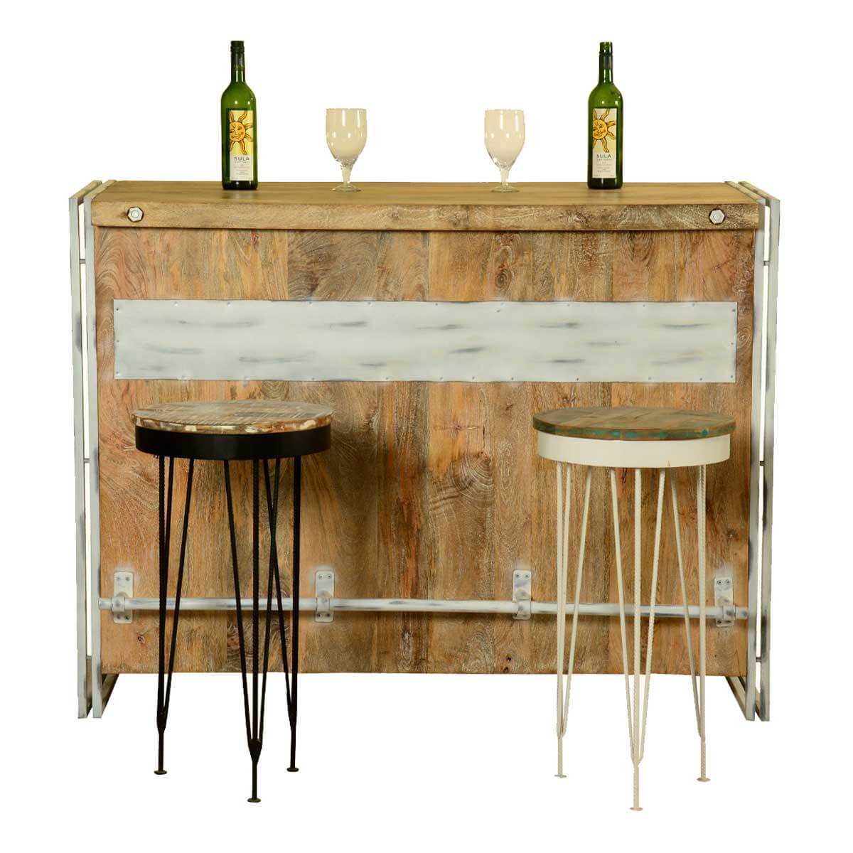 Rustic Modern Counter Stools Modern Rustic Mango Wood And Polished Iron Wine Bar W 2 Stools