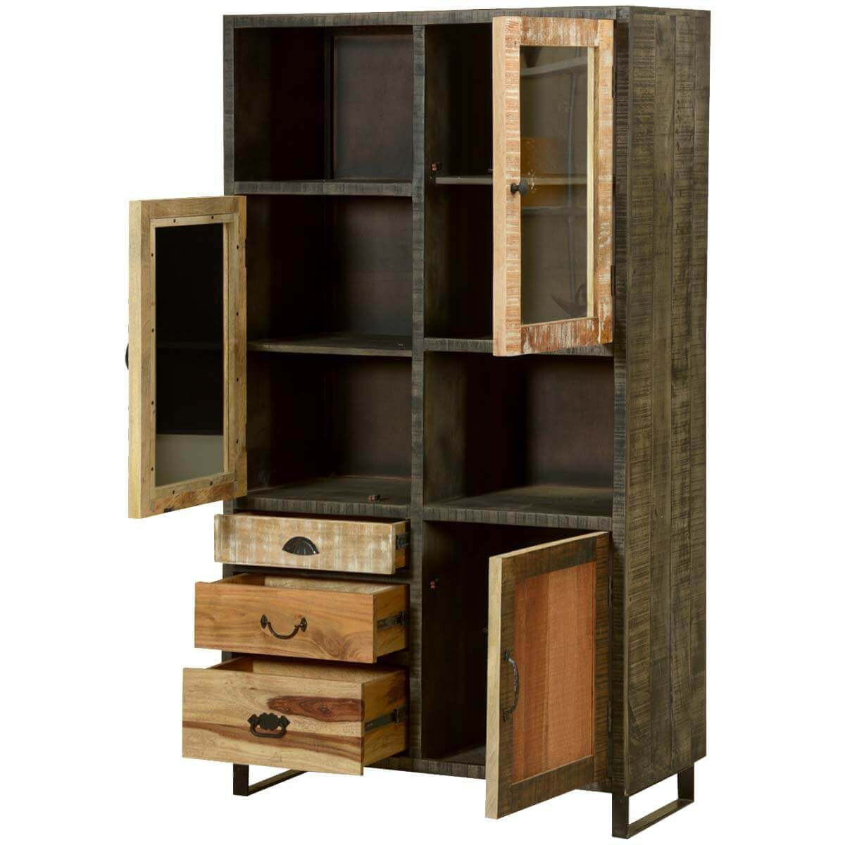 Wall Unit Wooden Wooden Patches Mango Wood And Iron Media Wall Unit Cabinet