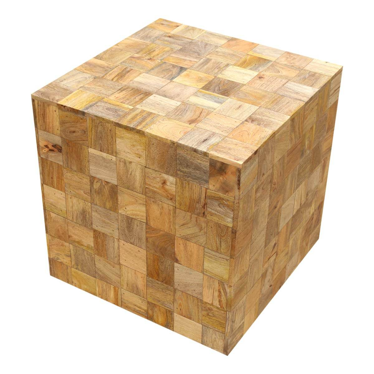 Wood Cube End Table Modern Mosaic Mango Wood 22 Quot Cube End Table Set Of 2