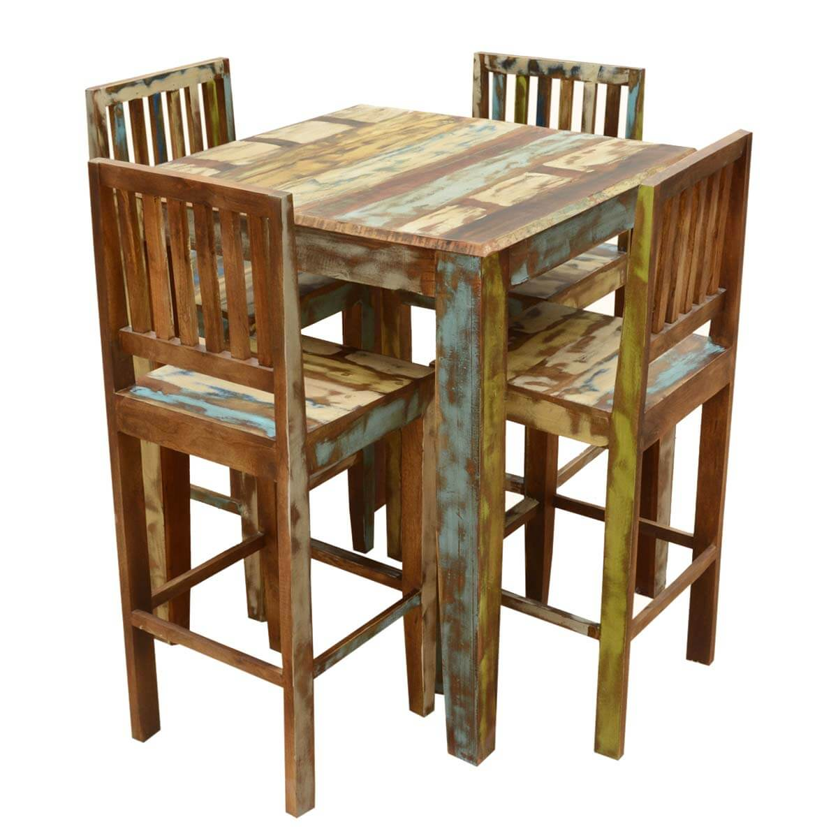 Bar Table Set Appalachian Rustic Reclaimed Wood High Bar Table And Chair Set