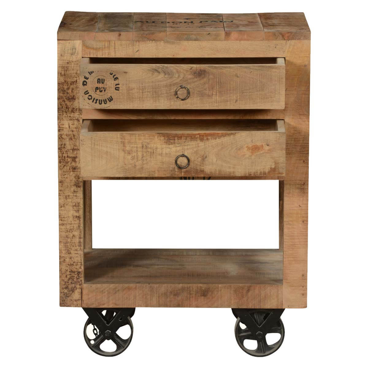 Industrial Look End Tables Industrial Style Rustic Solid Wood 2 Drawer End Table W