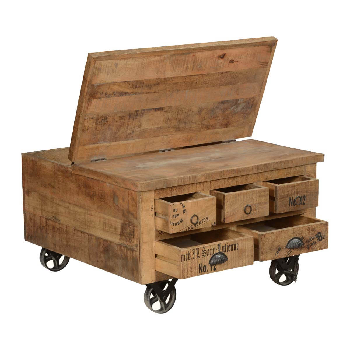 Industrial Coffee Table Industrial Style Solid Wood Square Storage Trunk 5 Drawer