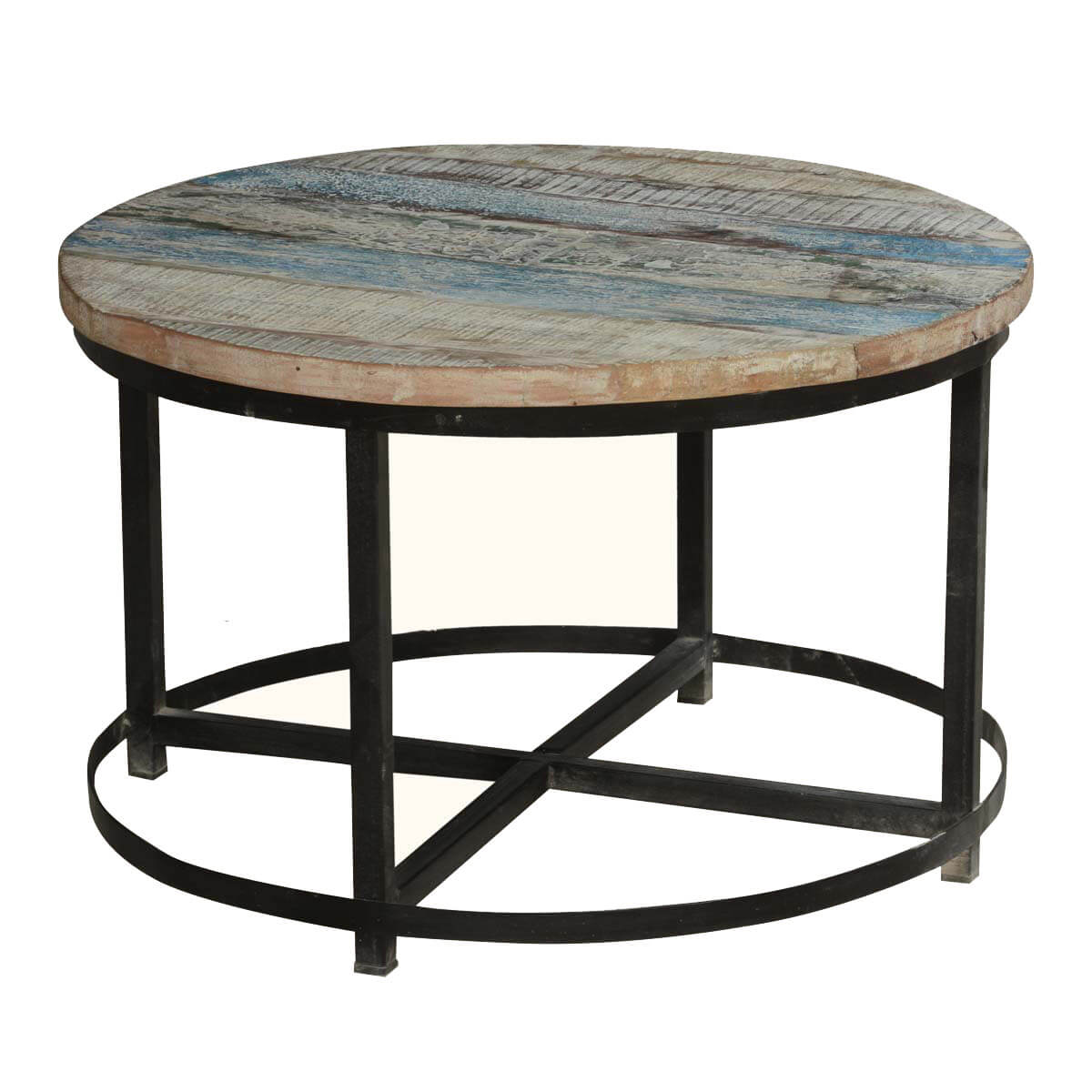 Industrial Coffee Table Bithlo Reclaimed Wood Top Round Industrial Coffee Table