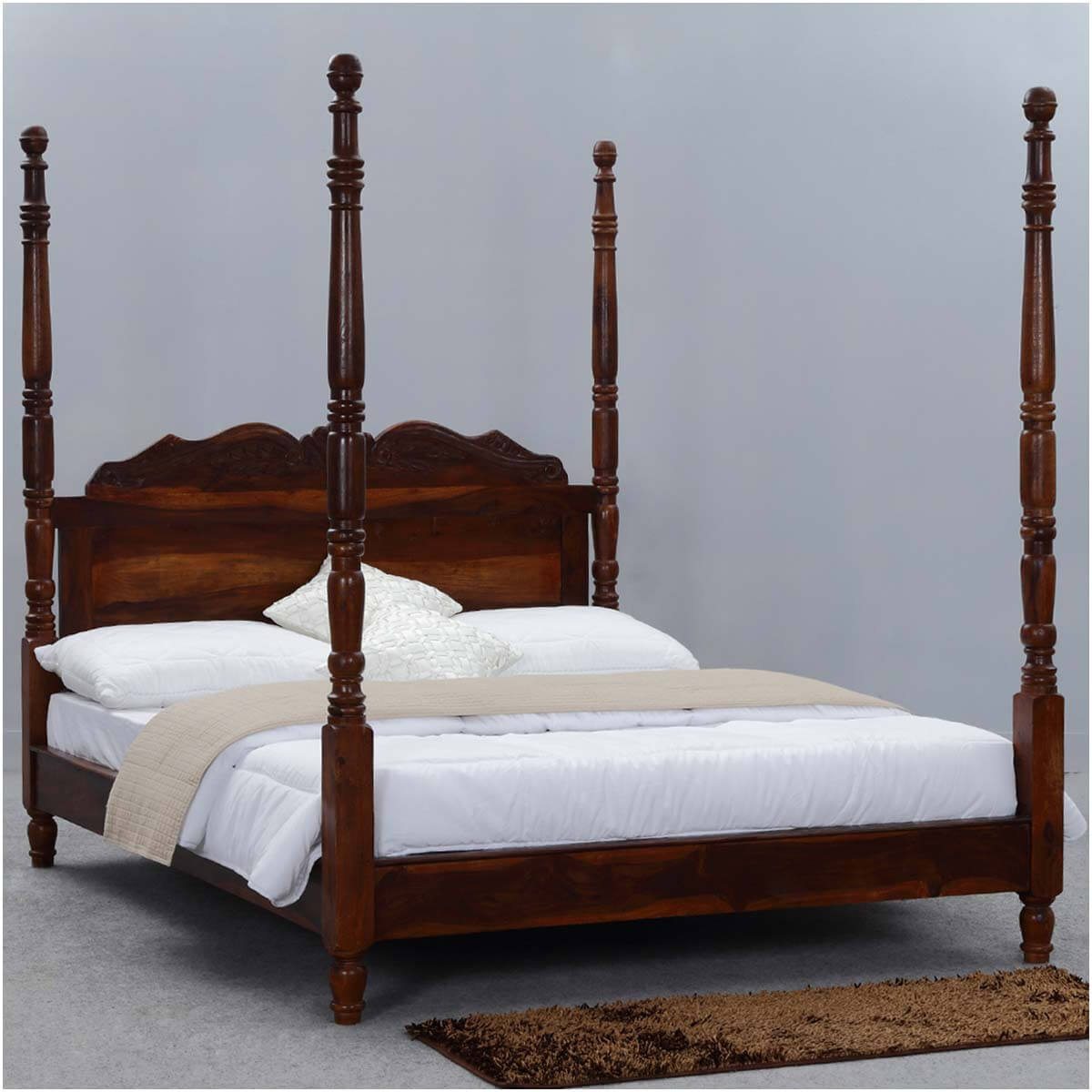 Four Poster Queen Bed Queen Anne Solid Wood Four Poster Platform Bed Frame W