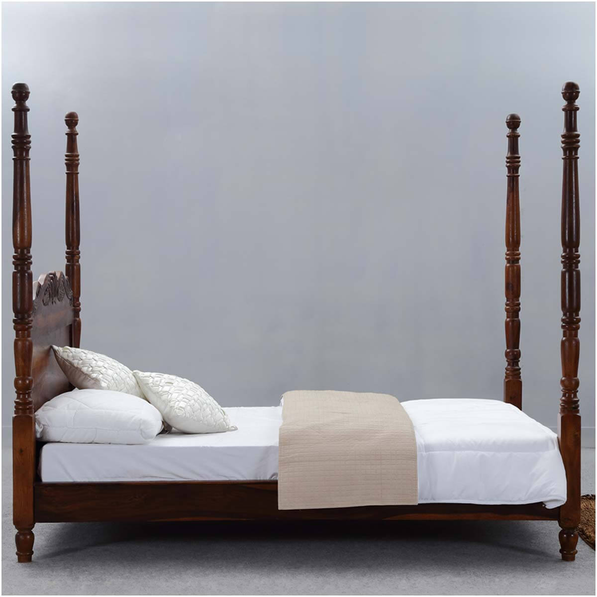 Wood Four Poster Beds Queen Anne Solid Wood Four Poster Platform Bed Frame W