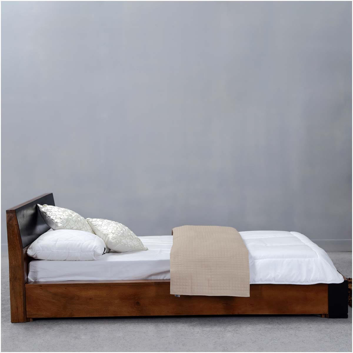 On Floor Beds Modern Simplicity Mango Wood Floor Frame Platform Bed W