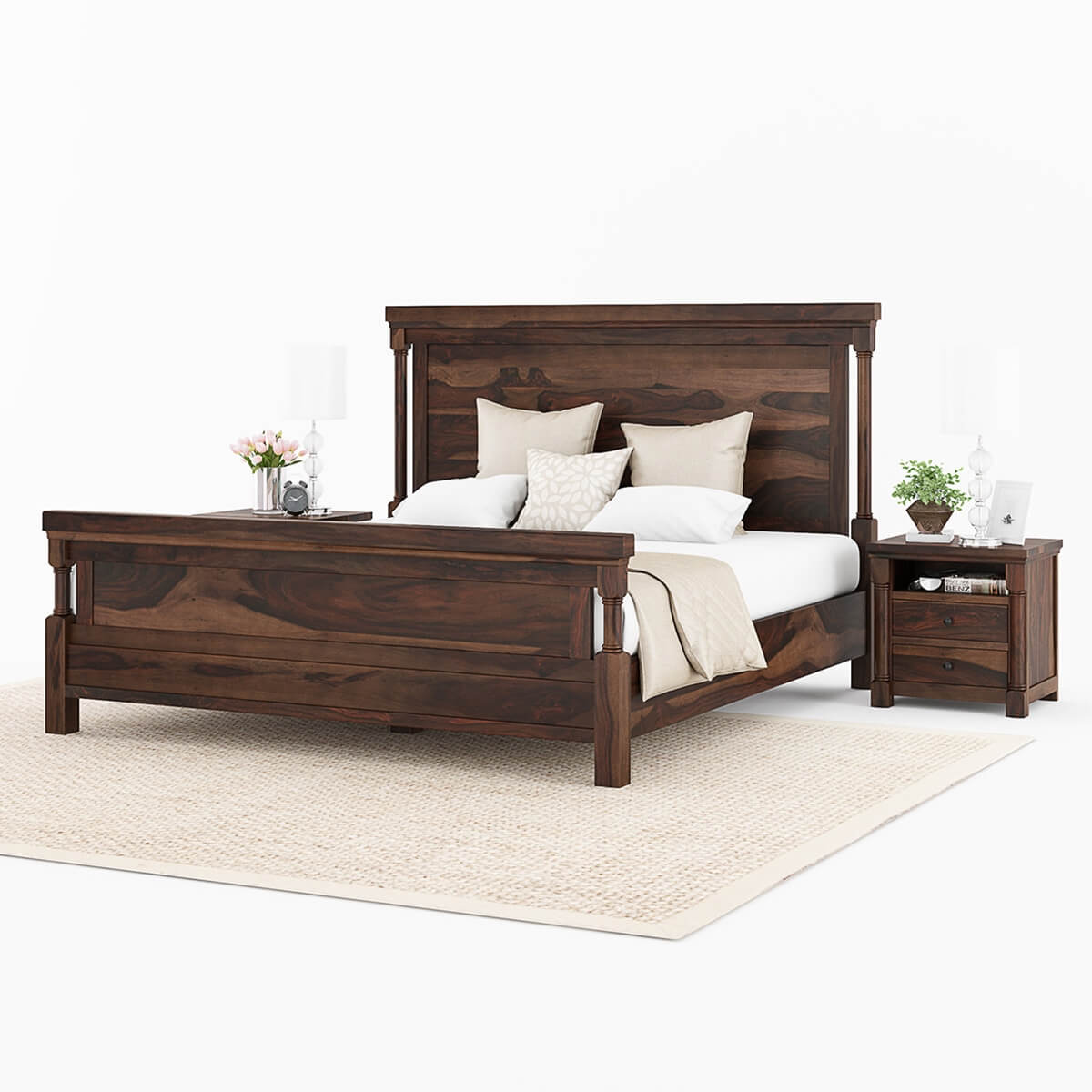 Solid Wood Bed Transitional Solid Wood King Size Platform Bed