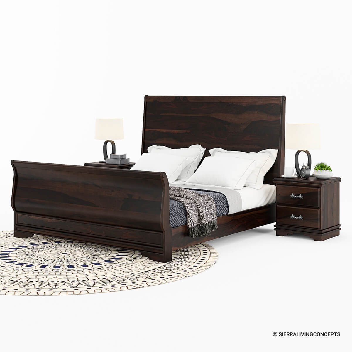 King Size Bed Frame Sleigh Back Solid Wood King Size Platform Bed Frame