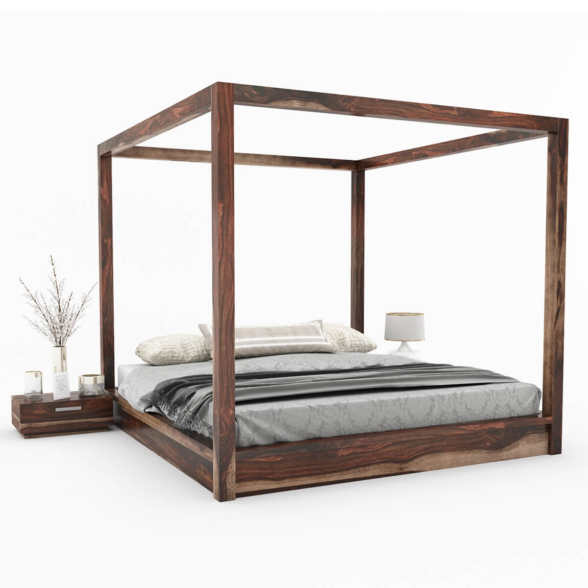 Solid Wood Bed Hampshire Rustic Solid Wood King Size Canopy Bed