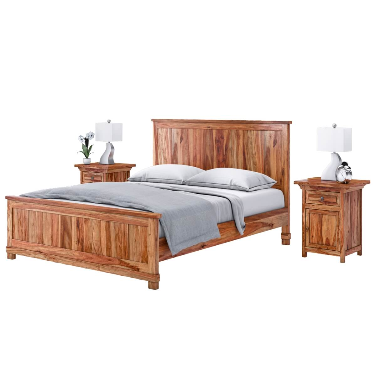Solid Wood Bed Modern Mission Solid Wood California King Size Platform Bed