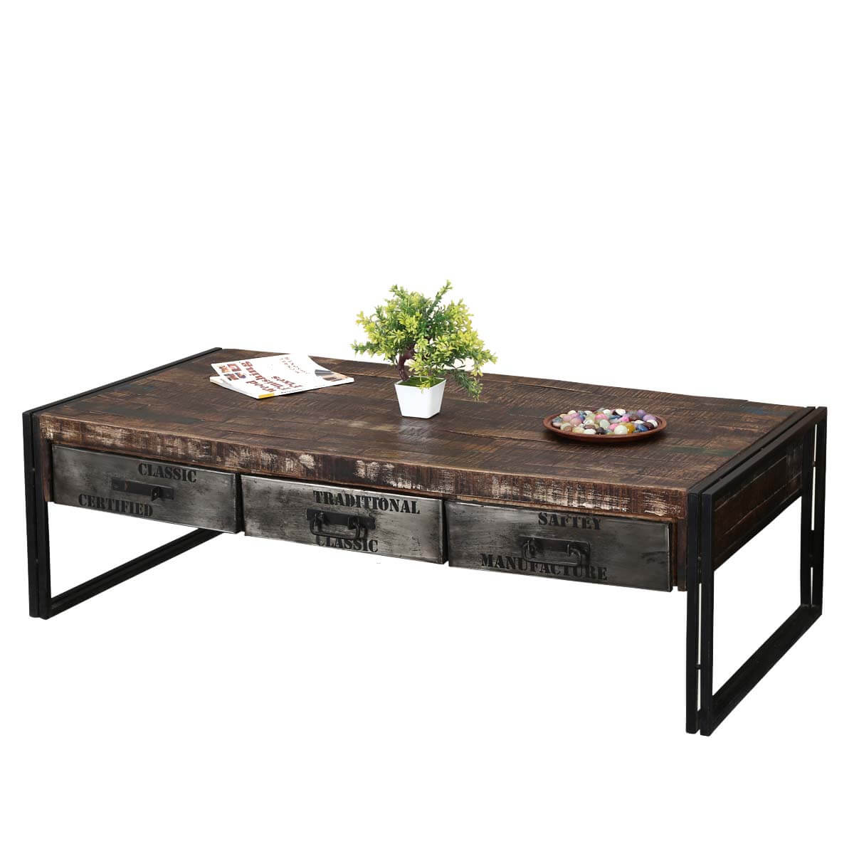 Industrial Coffee Table Industrial Midnight Mango Wood And Iron 60 Coffee Table W