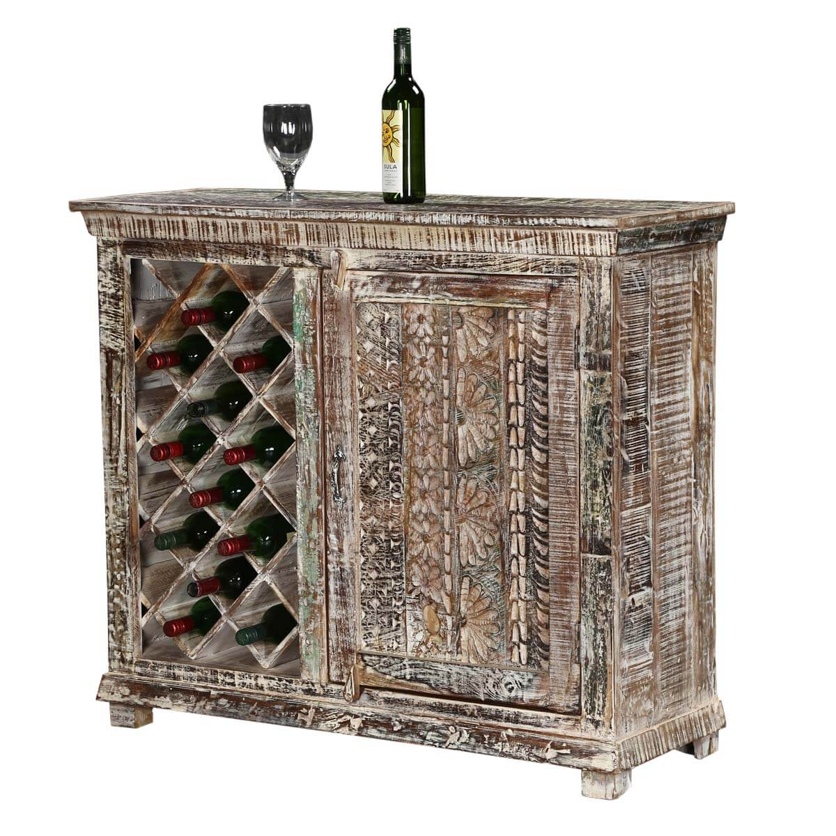 Wood Wine Storage Chartres Distressed Solid Wood Rustic Bar Cabinet With