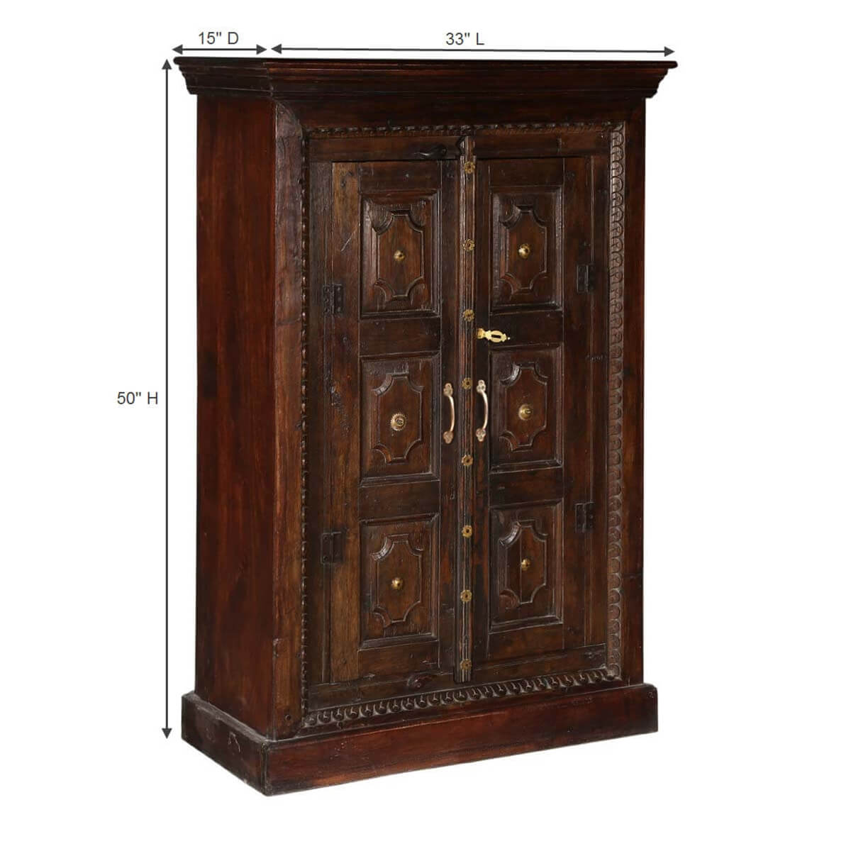 Armoire Métal Surfside Handcrafted Metal Accent Mango Wood Armoire