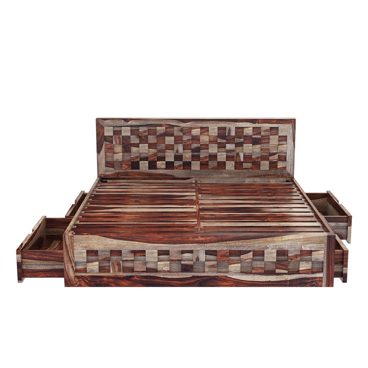 Solid Wood Bed Checkered Solid Wood Queen Size Captains Platform Bed