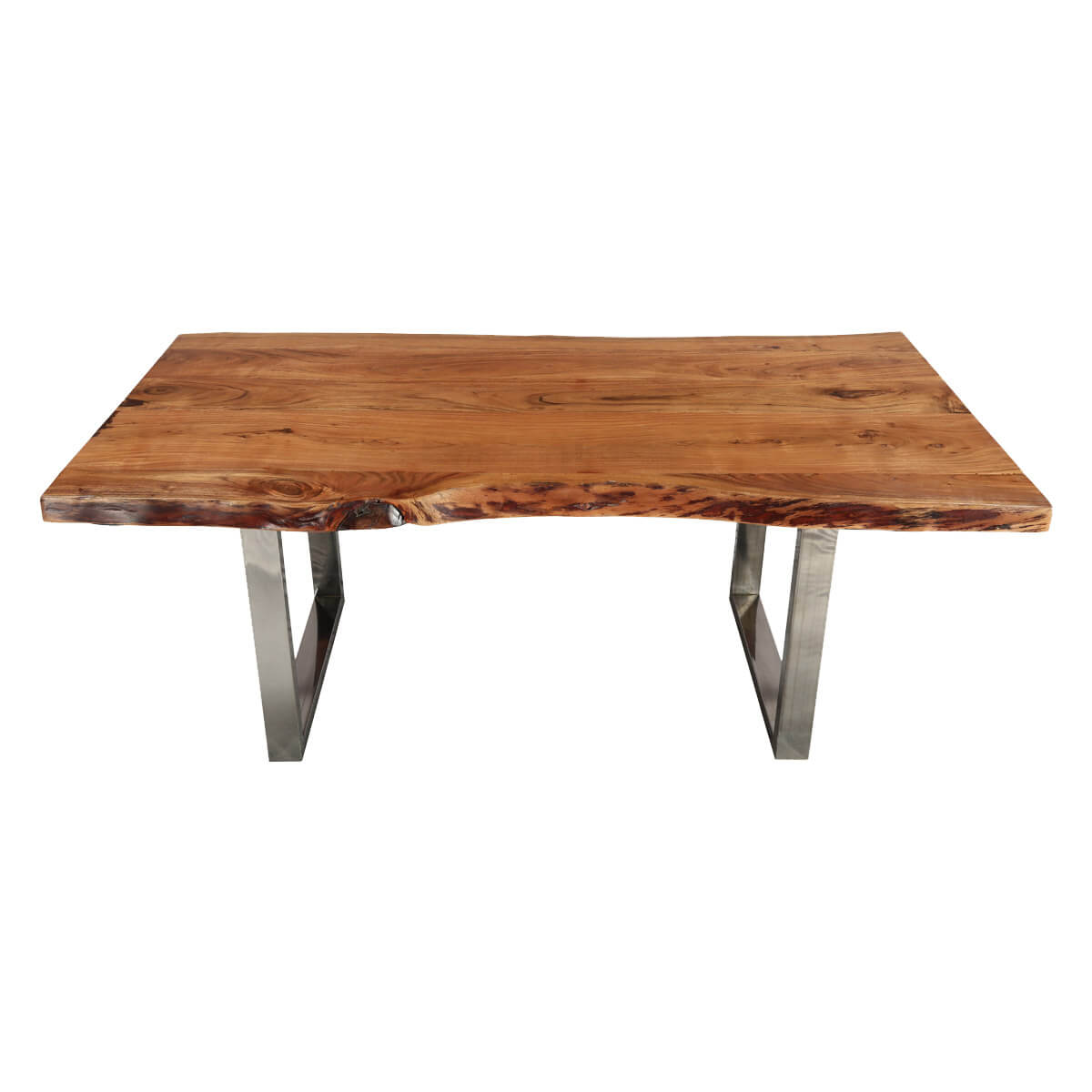 Acacia Dining Table Natural 78 Quot Acacia Wood And Steel Base Live Edge Dining Table