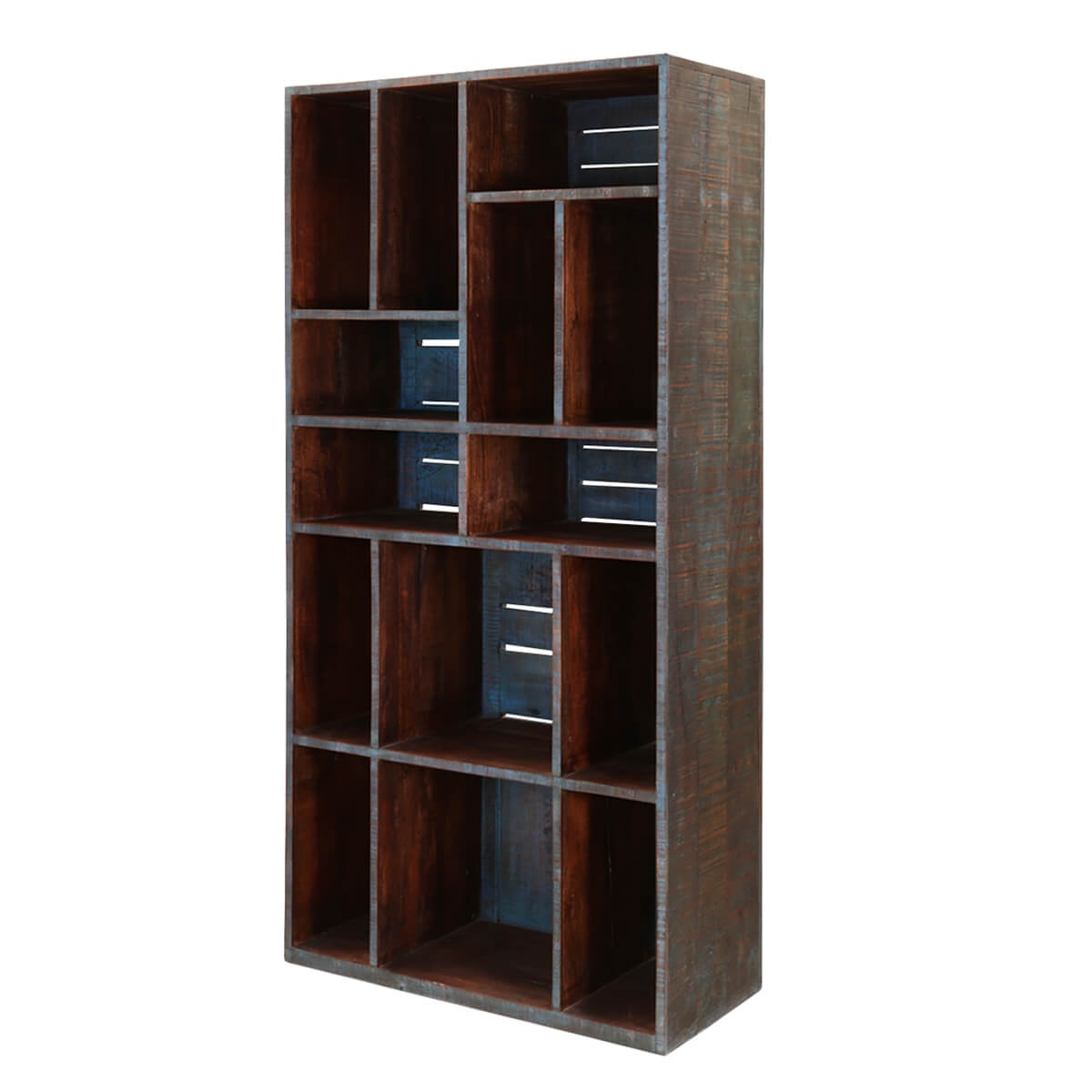 Wall Unit Wooden Modern Space 71 Quot Mango Wood Rustic Bookcase Wall Unit
