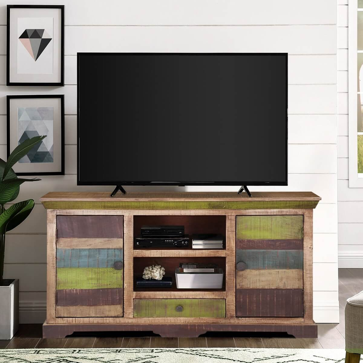 "Tv Sideboard Modern Modern 59"" Rustic Mango Wood Sideboard Freestanding Tv ..."