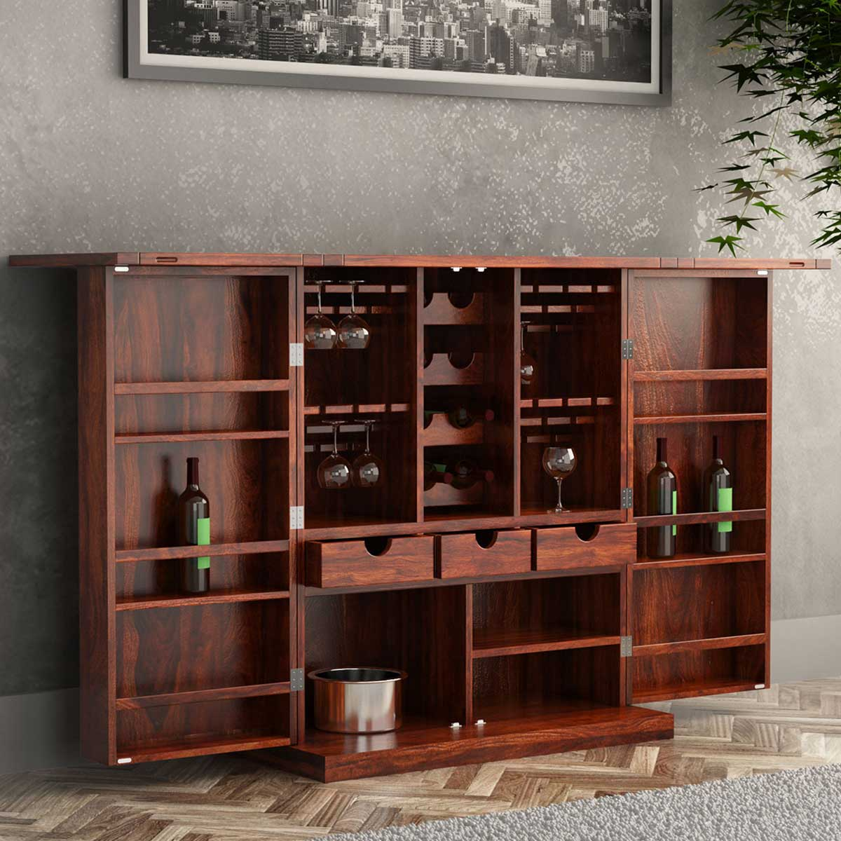 Wood Wine Storage Richmond Rustic Solid Wood Expandable Bar Cabinet With
