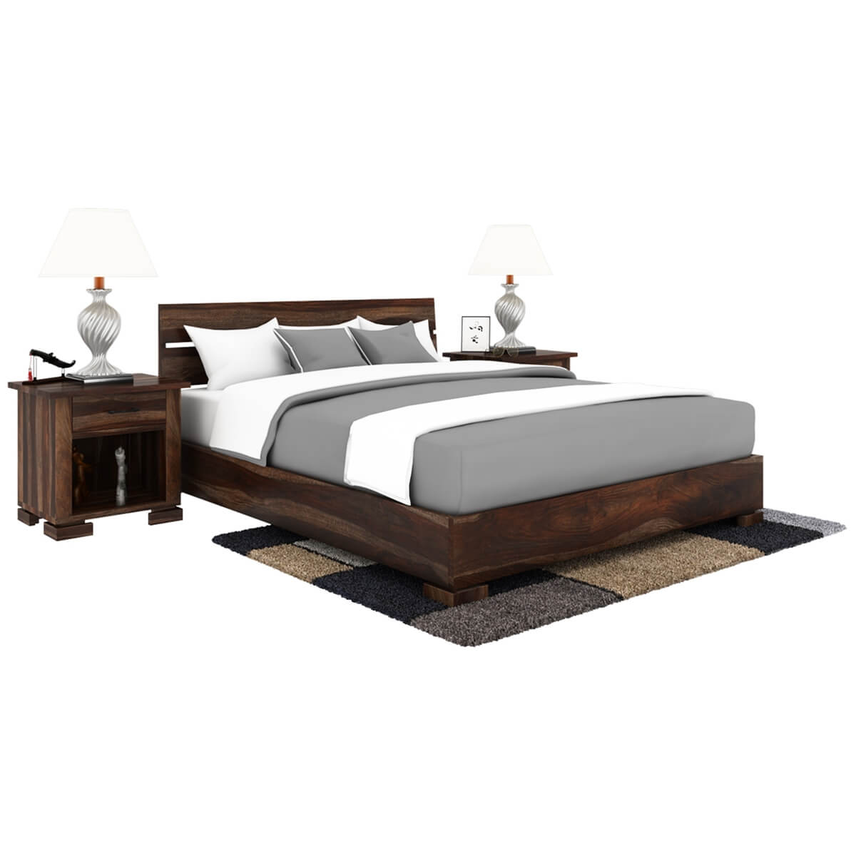 Solid Wood Bed Athena Handcrafted Solid Wood Platform Bed