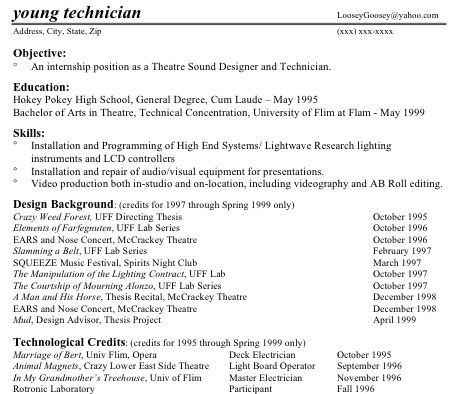 Technical Theatre Resumes Part Two - Skills List On Resume