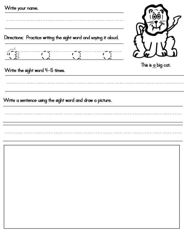 Printable Sight Word Worksheets - Sight Words, Reading, Writing