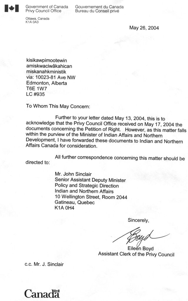 6 Letter/GovDept/OF CANADA/PRIVY OFFICE, Indians remain bound - refusal letter