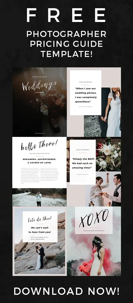 FREE Photographer Pricing Guide Template! - Signature Edits - Edit