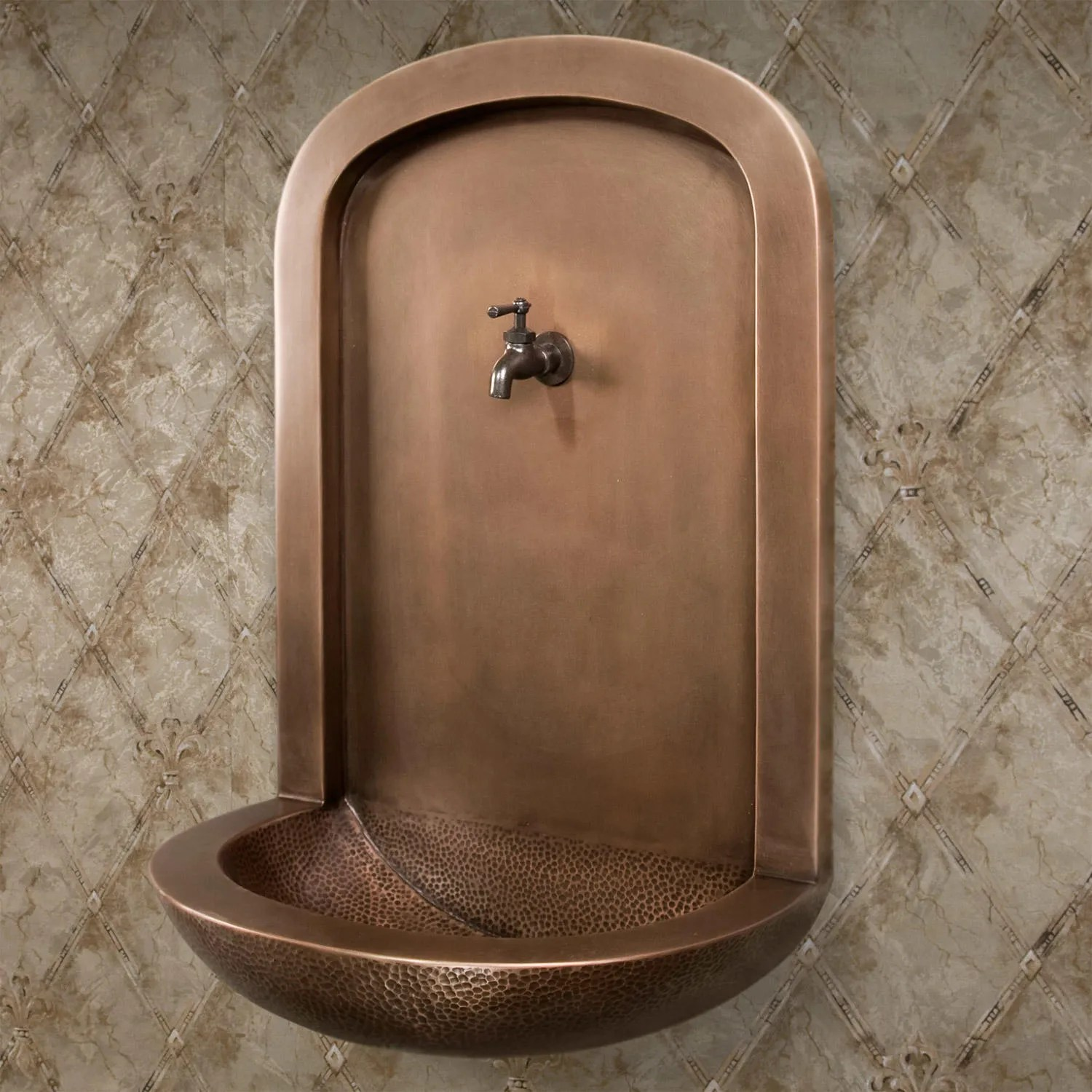 Installer Robinet Exterieur Double Sink Copper Wall Fountain With Faucet - Outdoor