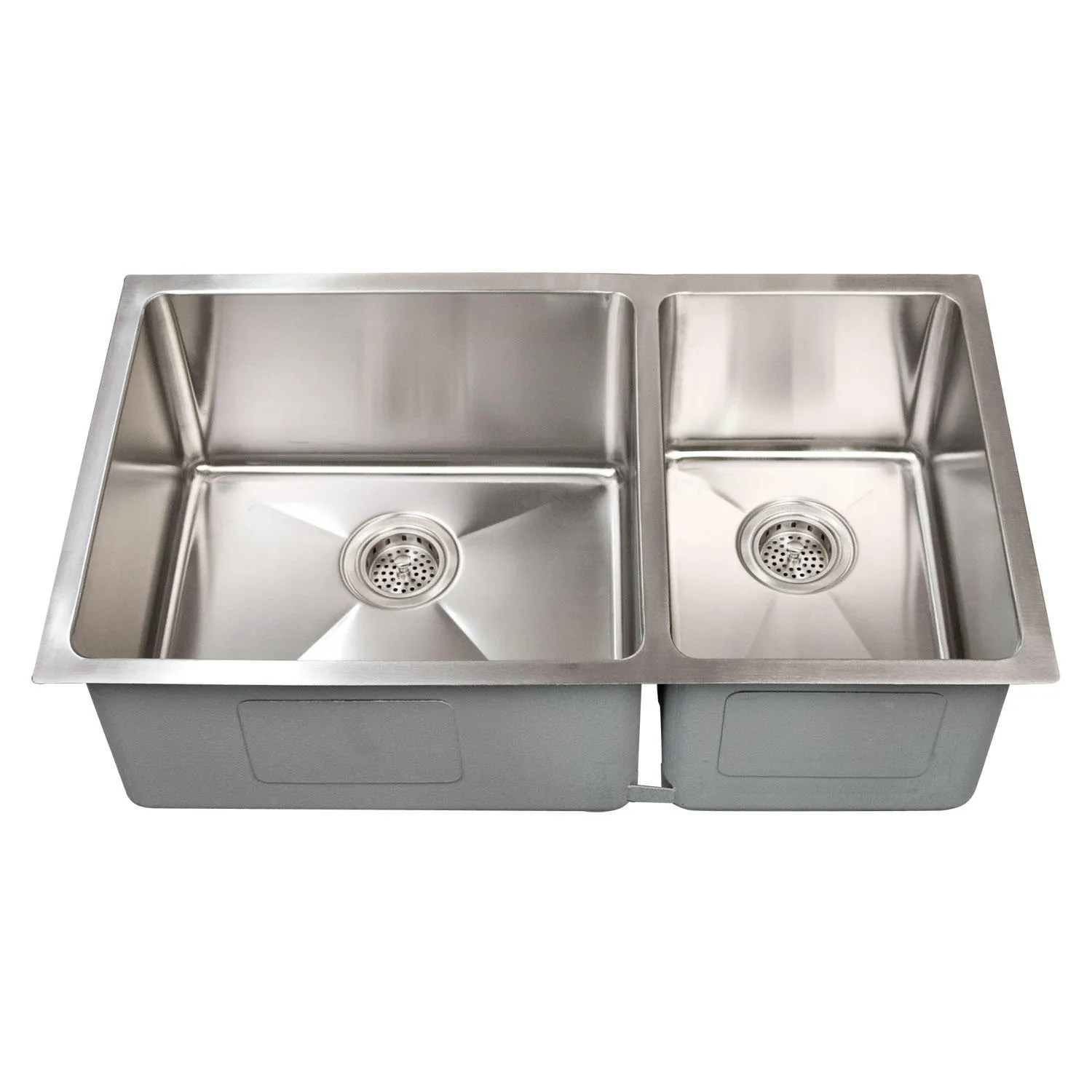 "60 40 Sink 32"" Optimum 60/40 Offset Double-bowl Stainless Steel"