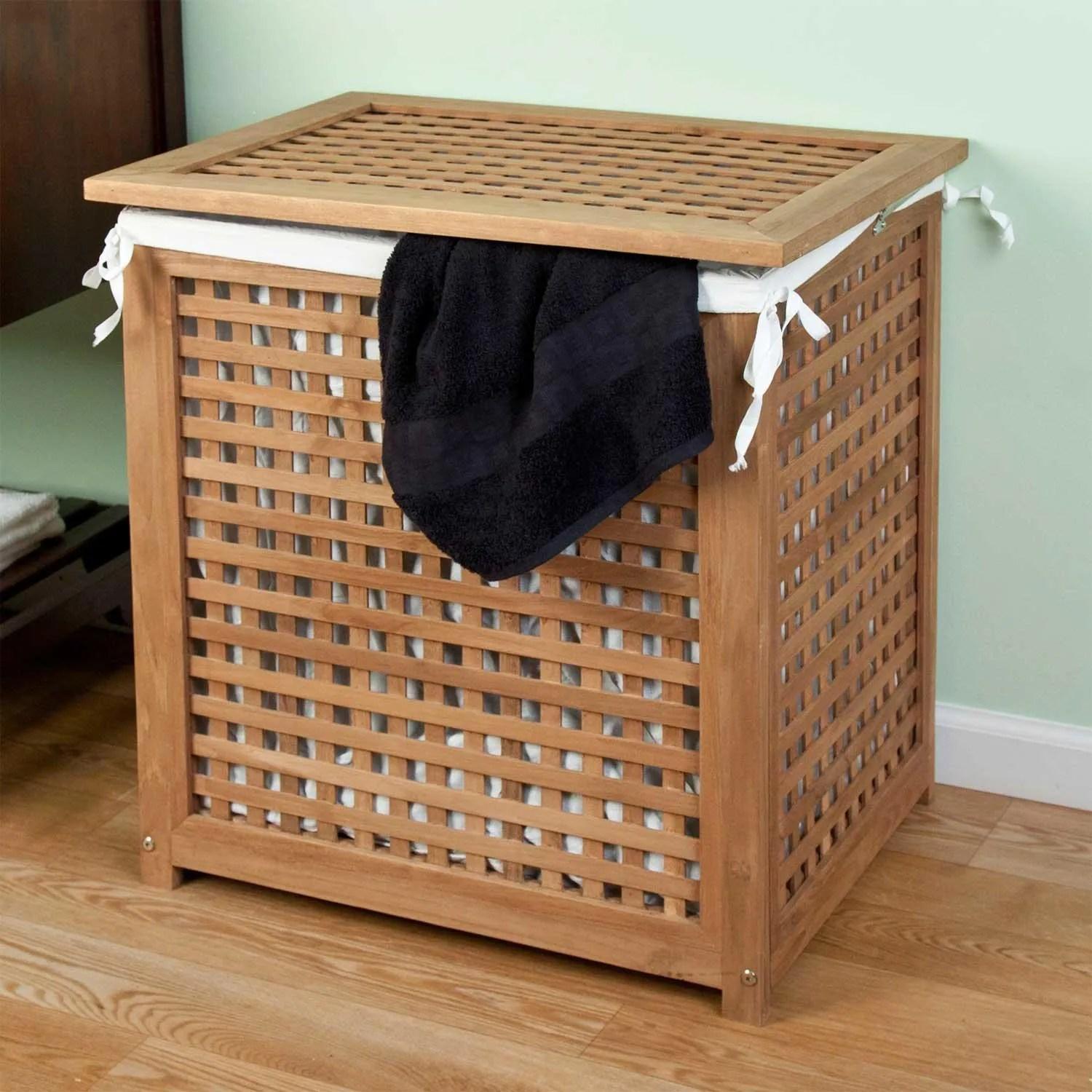 Wood Clothes Hamper With Lid Signature Hardware Teak Laundry Hamper With Lid Ebay
