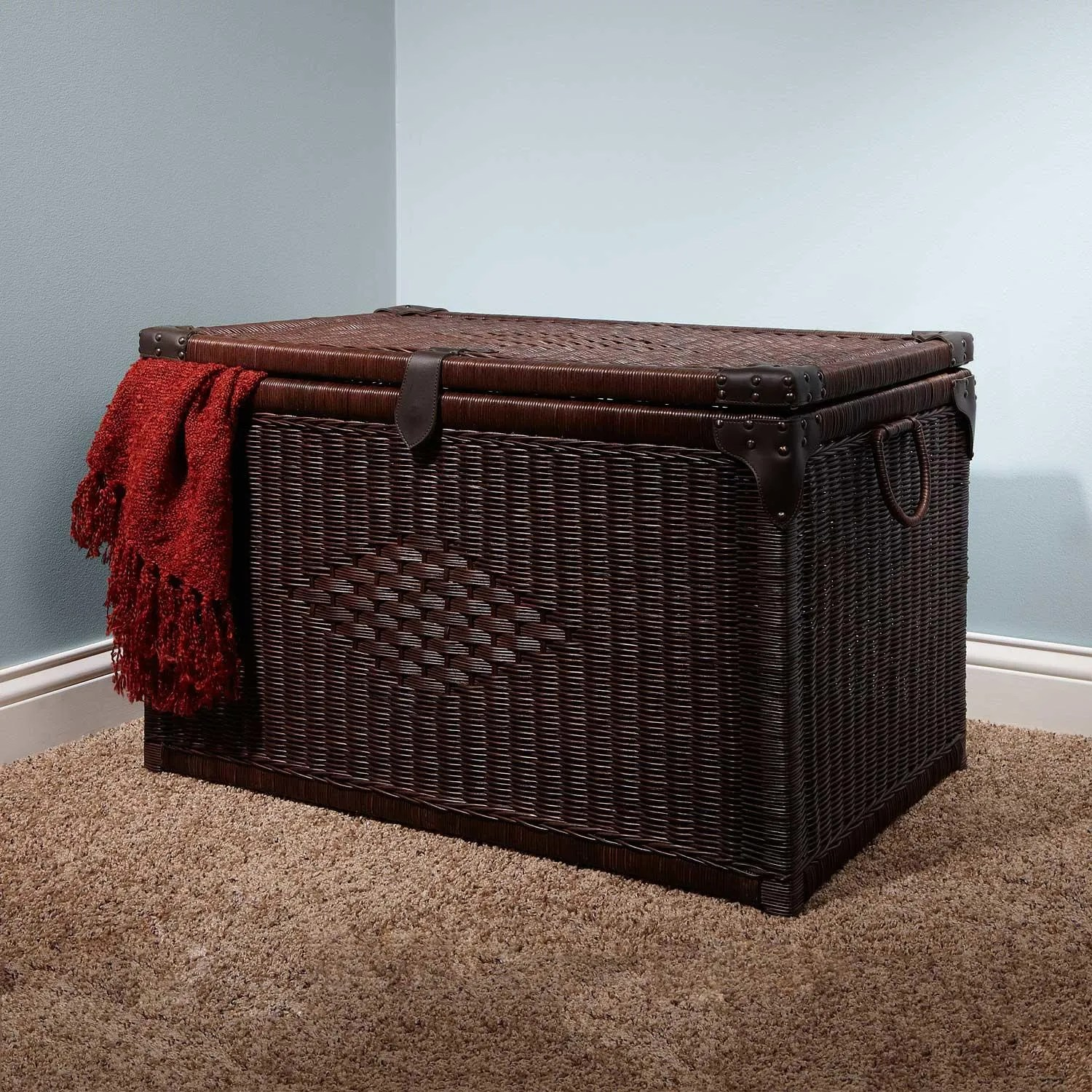 Dark Brown Wicker Laundry Basket 20 Quot Ribbed Dark Brown Rattan Laundry Basket Bathroom