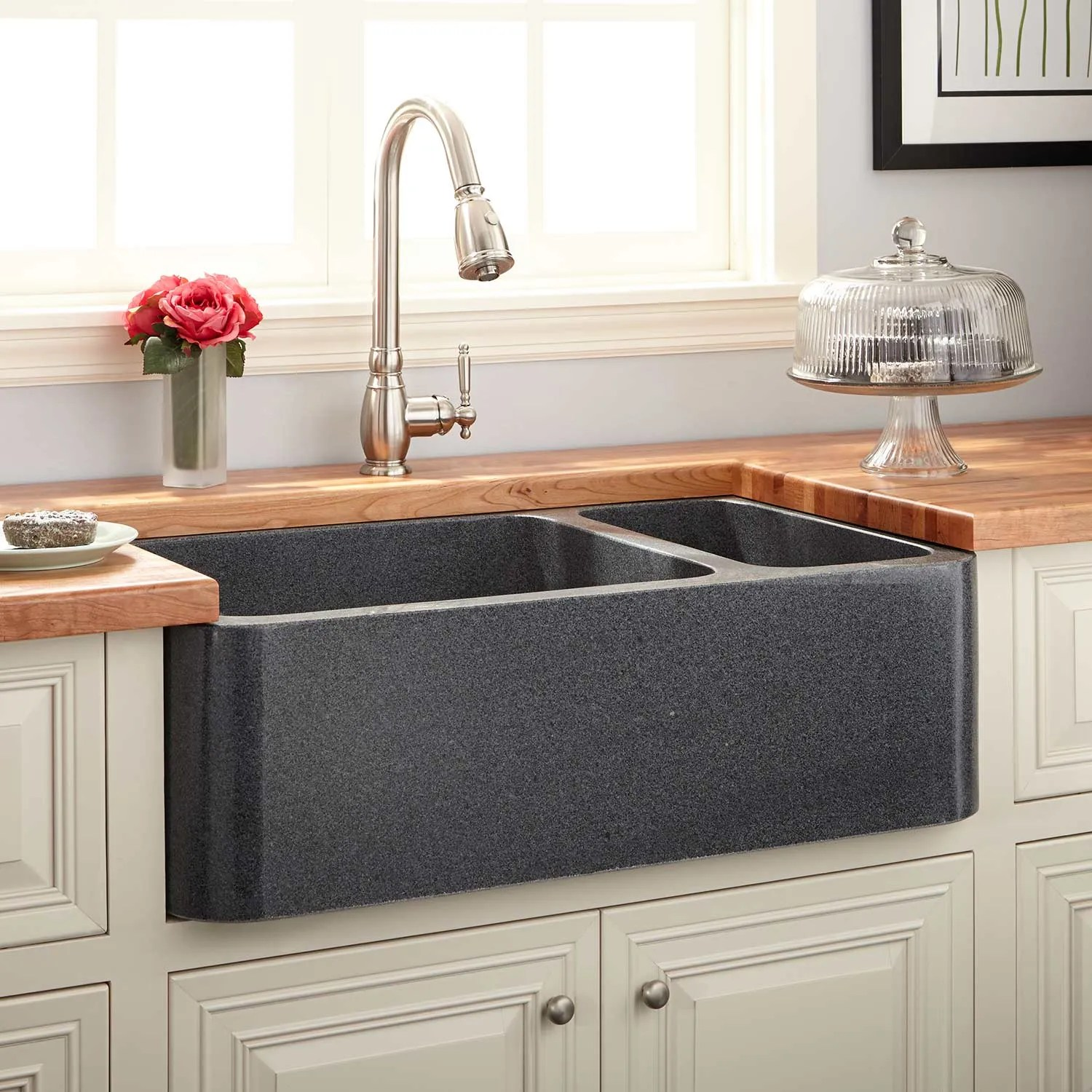 Latoscana Farmhouse Sink 36 Gray Polished Sink Signature Hardware