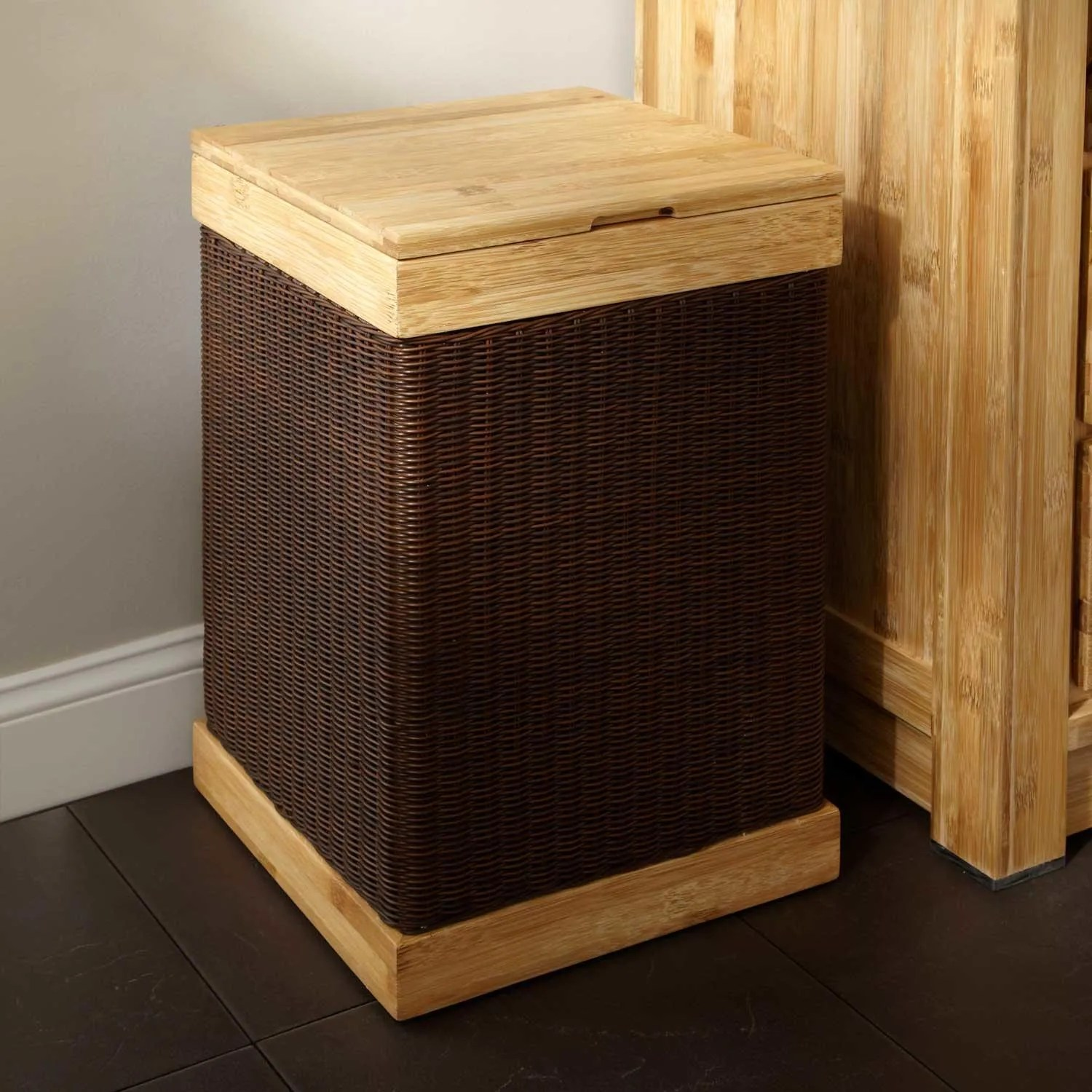 Hamper With Liner Signature Hardware Hinged Lid Bamboo Clothes Hamper With Liner