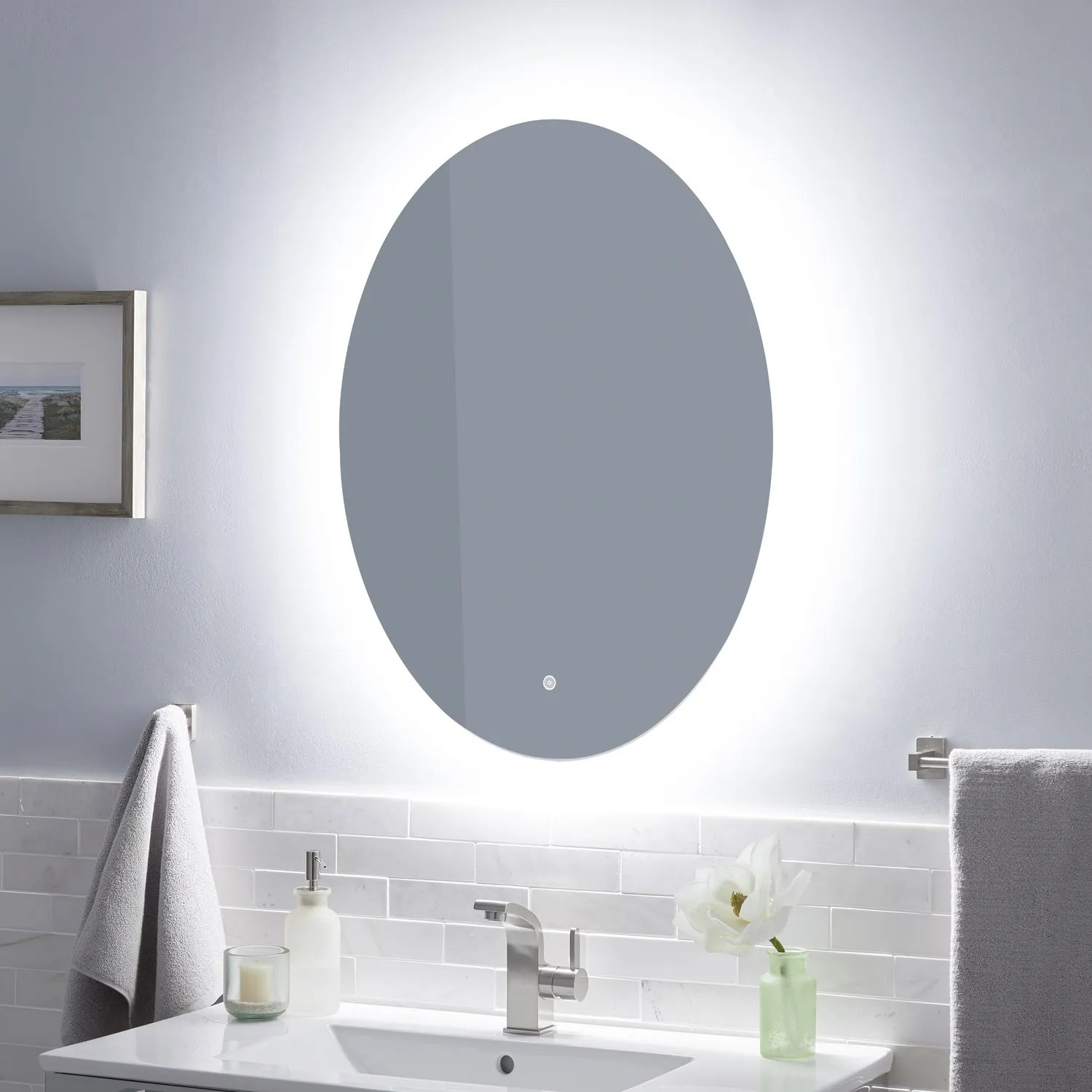 Fahlman Oval Lighted Mirror With Tunable Led Bathroom