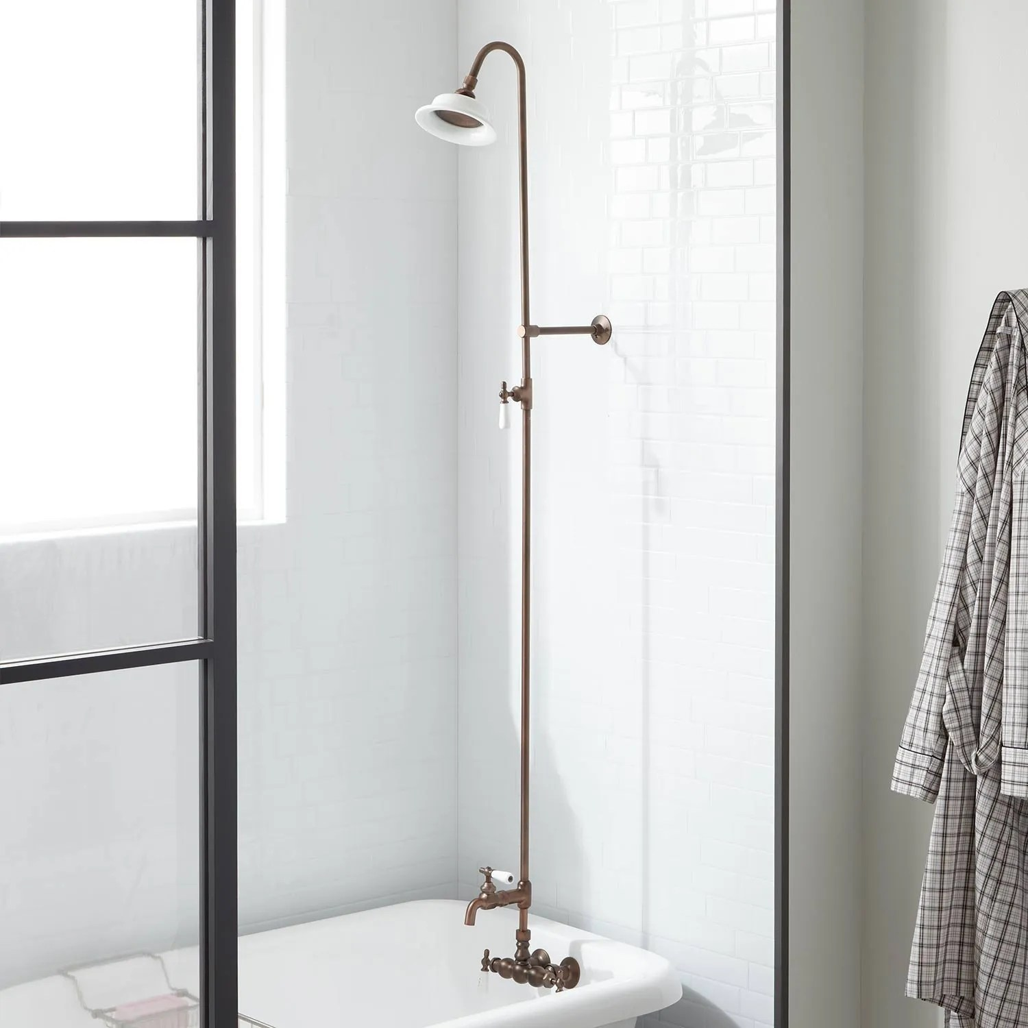Wall Shower Set With Exposed Pipe Riser And Tub Filler Bathroom