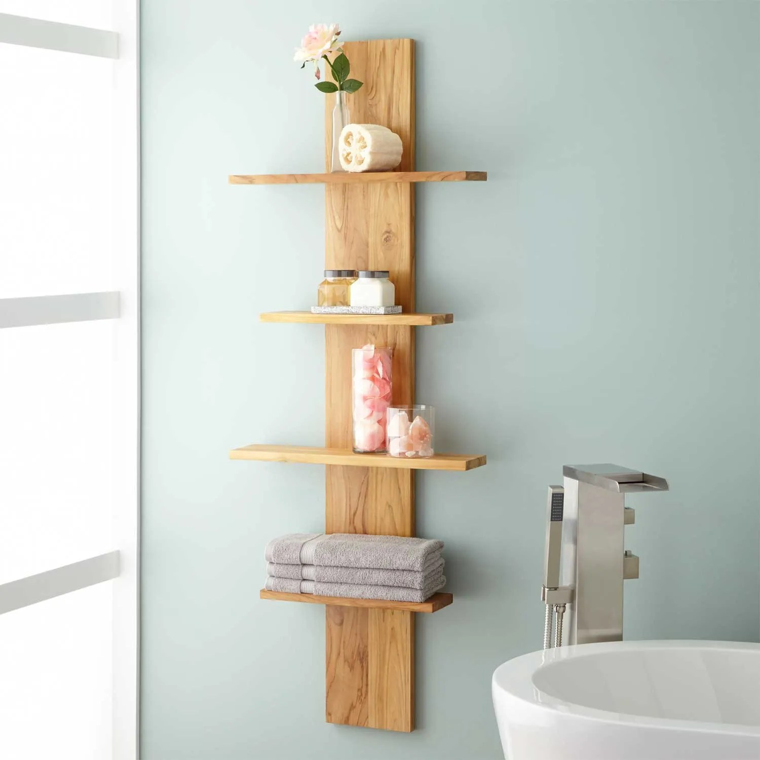 Plank Badkamer Wulan Hanging Bathroom Shelf Four Shelves Bathroom